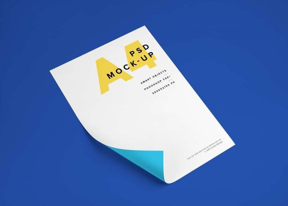 Flyer A4 Free Mockup (PSD)