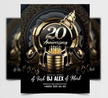 Free Anniversary Black & Gold Flyer Template (PSD)