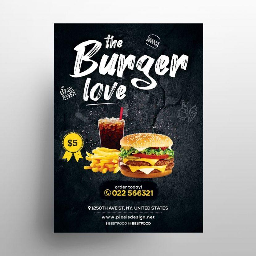 Free Burger Food Ad Flyer Menu Template (PSD)