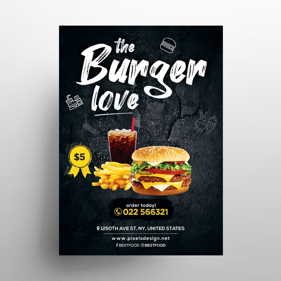Free Burger Food Ad Flyer Menu Template (PSD)