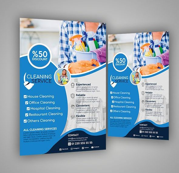 Free Clean Service Company Flyer Template (PSD)