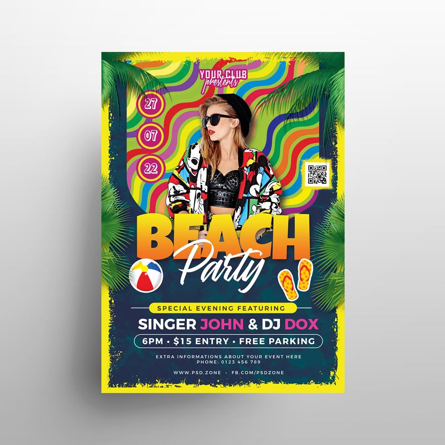 Free Colorful Beach Party Flyer Template (PSD)