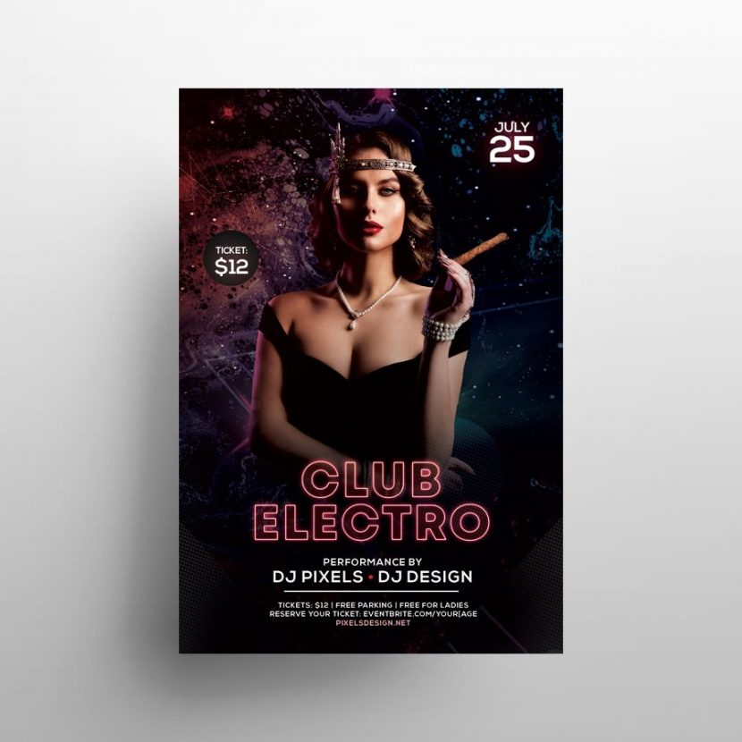 Free Electro Club Party Flyer Template (PSD)