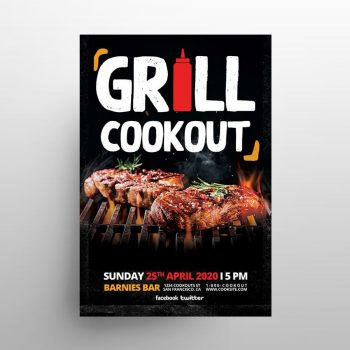 Free Grill Cookout Flyer Template (PSD)