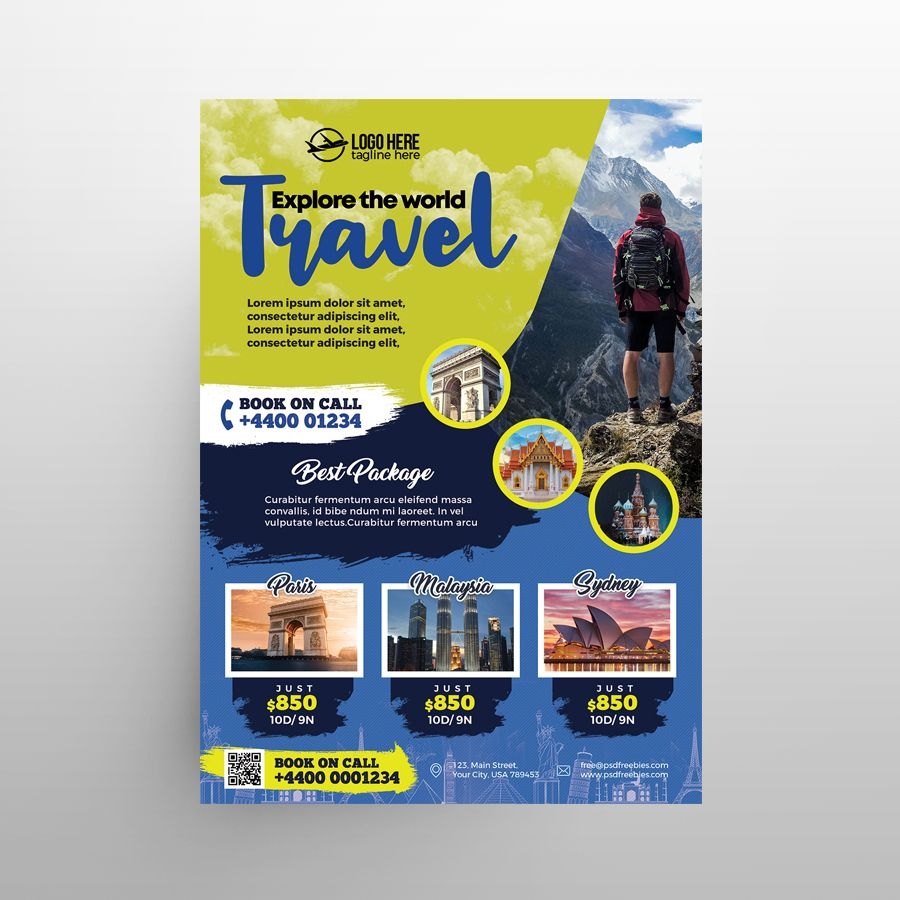 Free Holiday Travel Flyer Template (PSD)