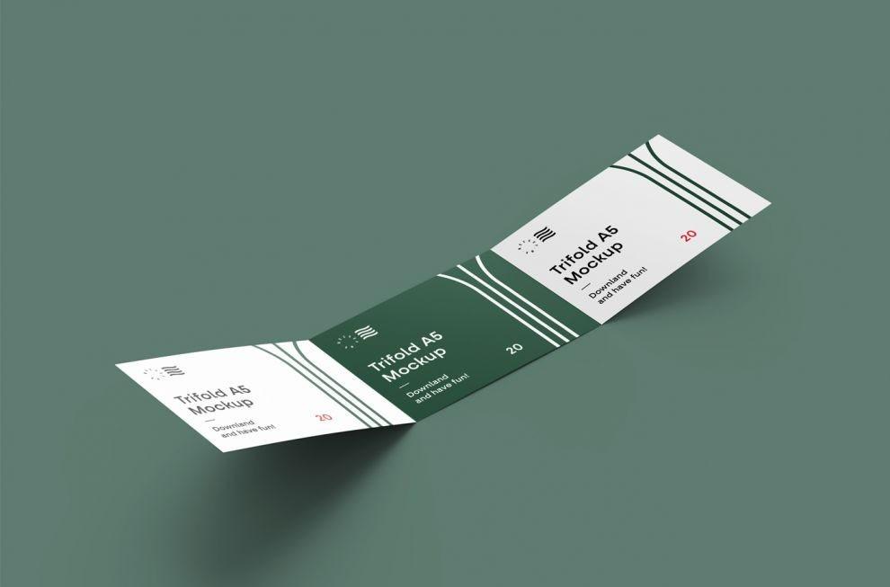 Free Horizontal Tri-Fiold Brochure Mockup