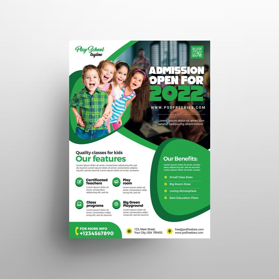 Free Kids School Admission Flyer Template (PSD)