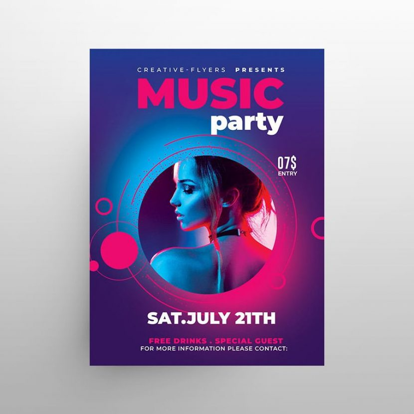 Free Music DJ Party Flyer Template (PSD)