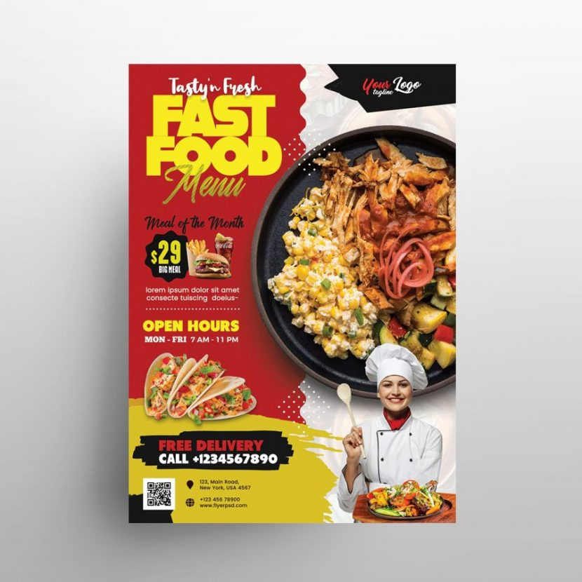 Free Restaurant Food Promotion Flyer Template (PSD)