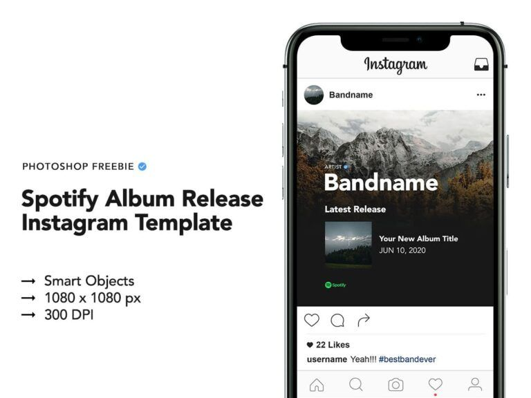 Free Spotify Album Release Instagram Template Ad