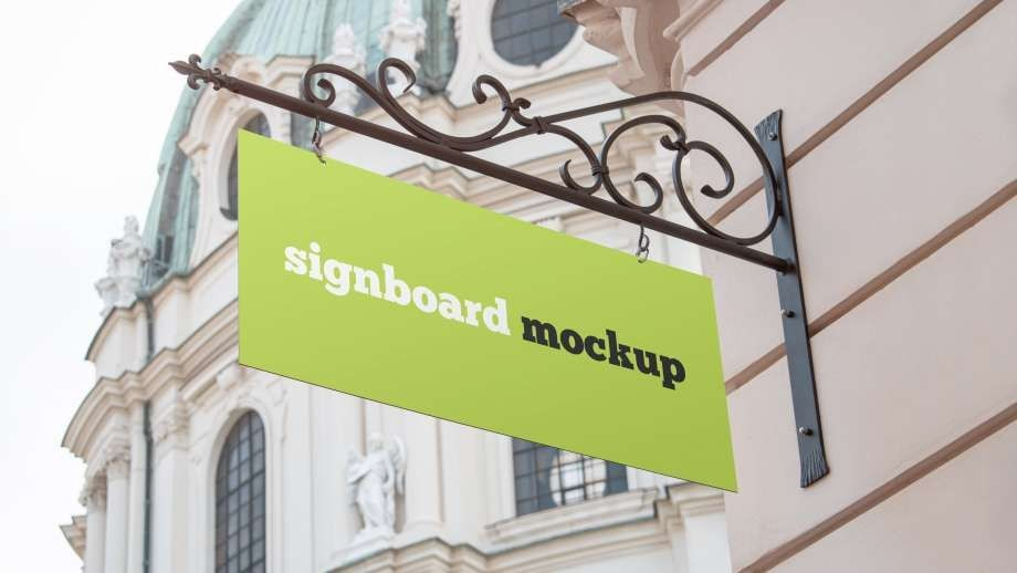 Free Store Signboard Mockup