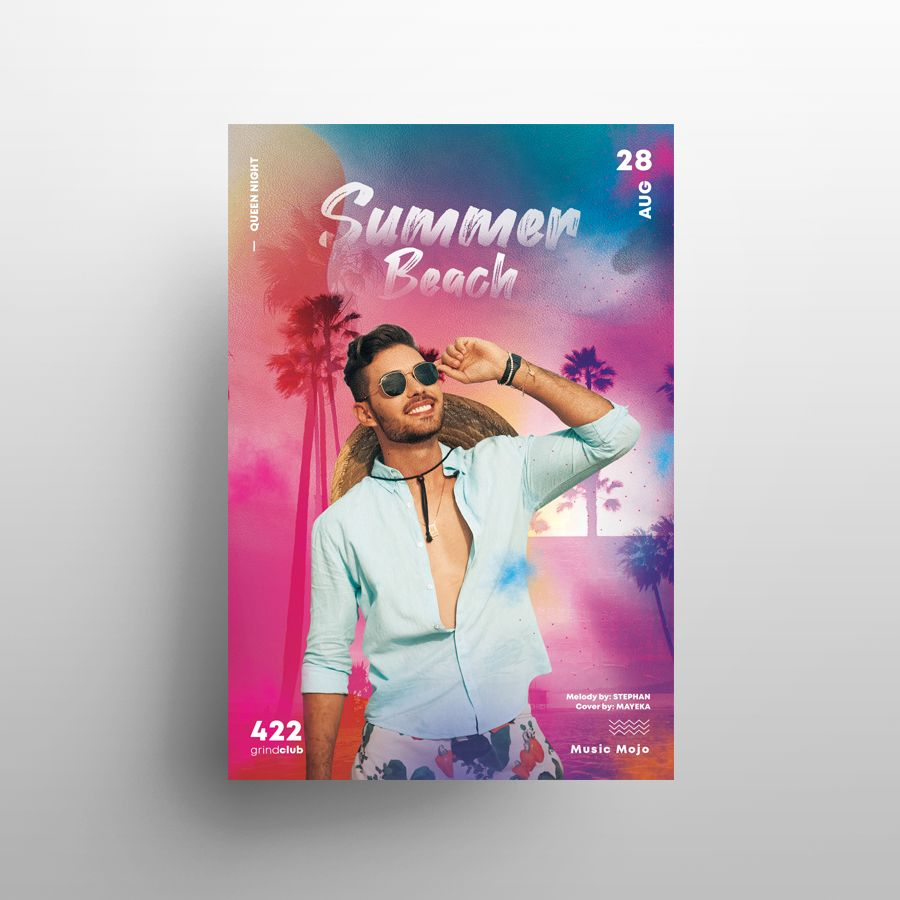 Free Summer DJ Party Flyer Template (PSD)
