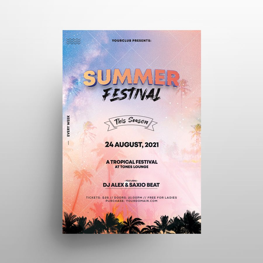 Free Summer Festival Flyer Template (PSD)
