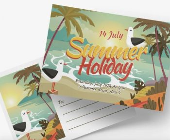 Free Summer Holiday Postcard PSD Template