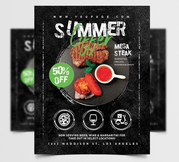 Free Summer Offer Restaurant Flyer Template (PSD)