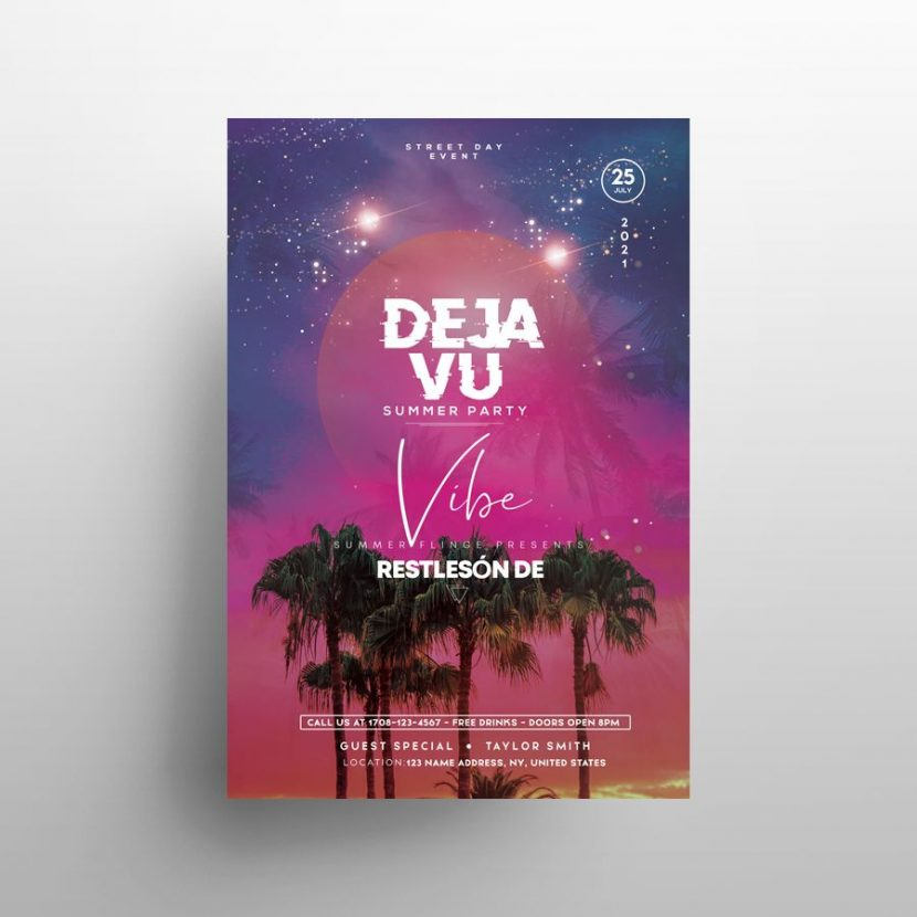 Free Sunset Vibe Party Flyer Template (PSD)