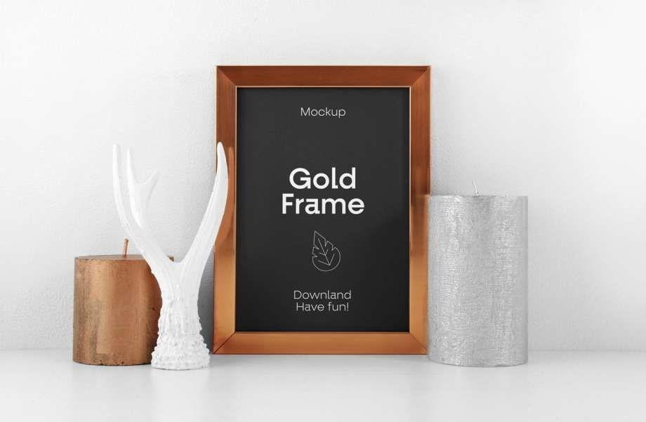 Golden Wood Poster Frame Free Mockup