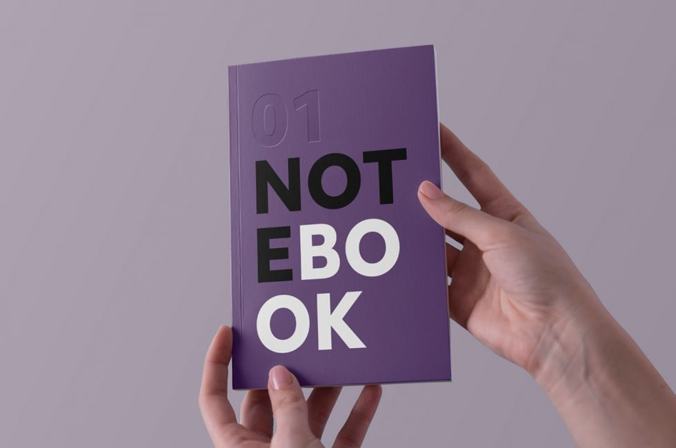 Hands Holding Notebook Free Mockup