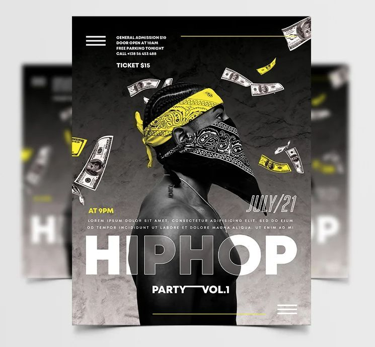 Hip Hop Urban Party Free Flyer Template (PSD)