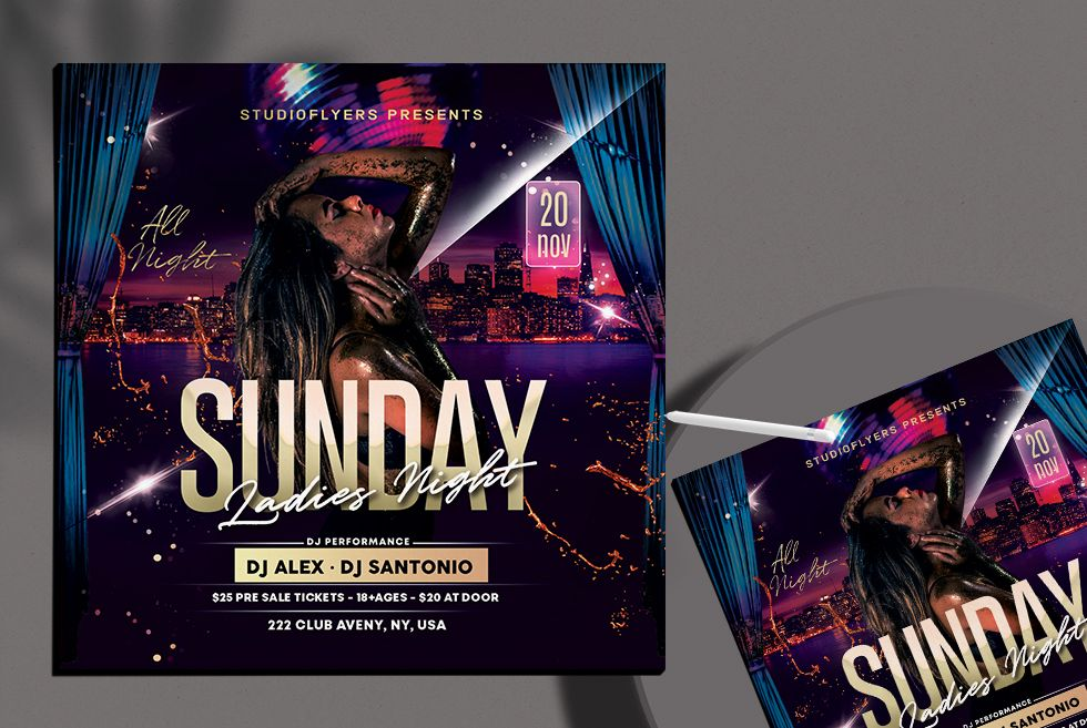 Ladies Party Free DJ Flyer Template (PSD)