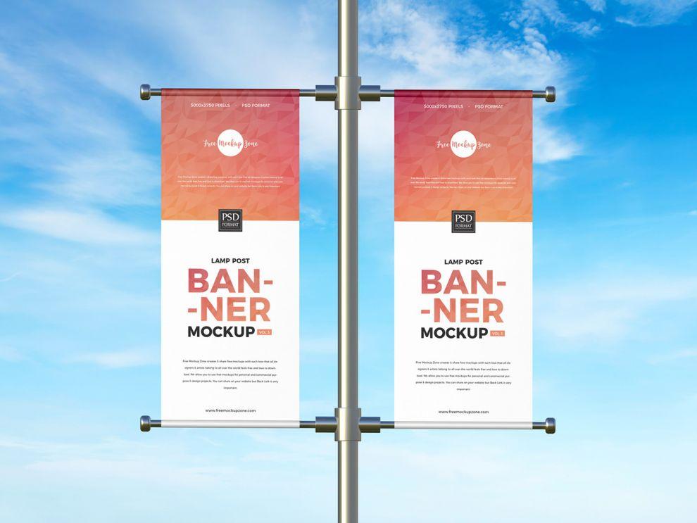 Lamp Post Banner Free Mockup (PSD)