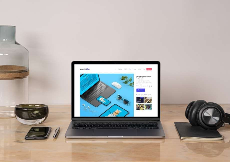 MacBook Pro on Desk Free Mockup