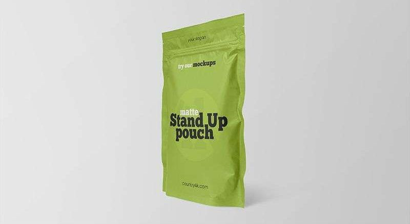 Matte Stand-Up Pouch Free Mockup