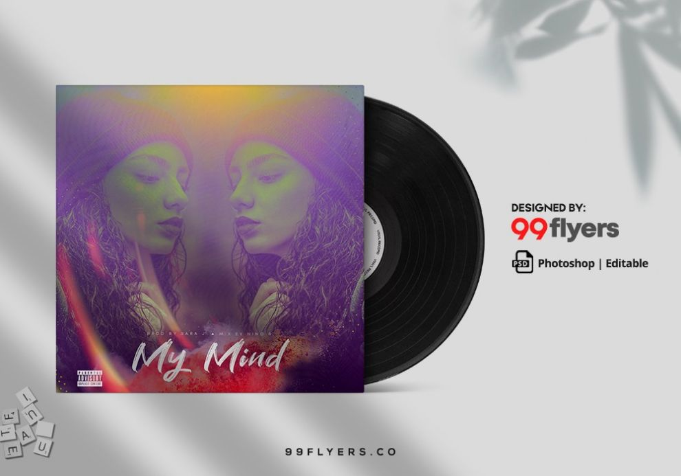 My Mind Free Music Mixtape CD Artwork Cover Template (PSD)