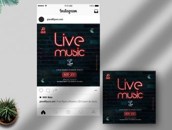 Neon Party Free Instagram Post Template (PSD)