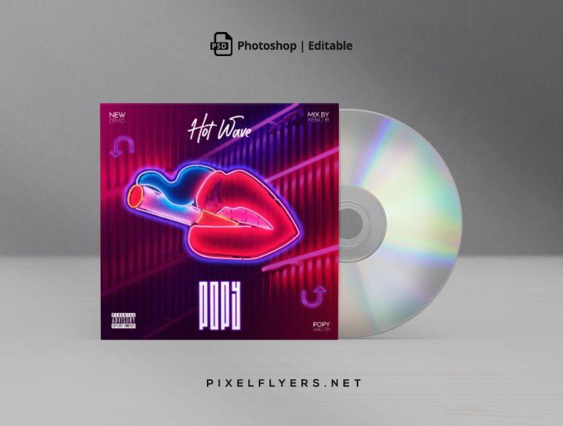 Neon Wave Free Mixtape CD Artwork Cover Template (PSD)