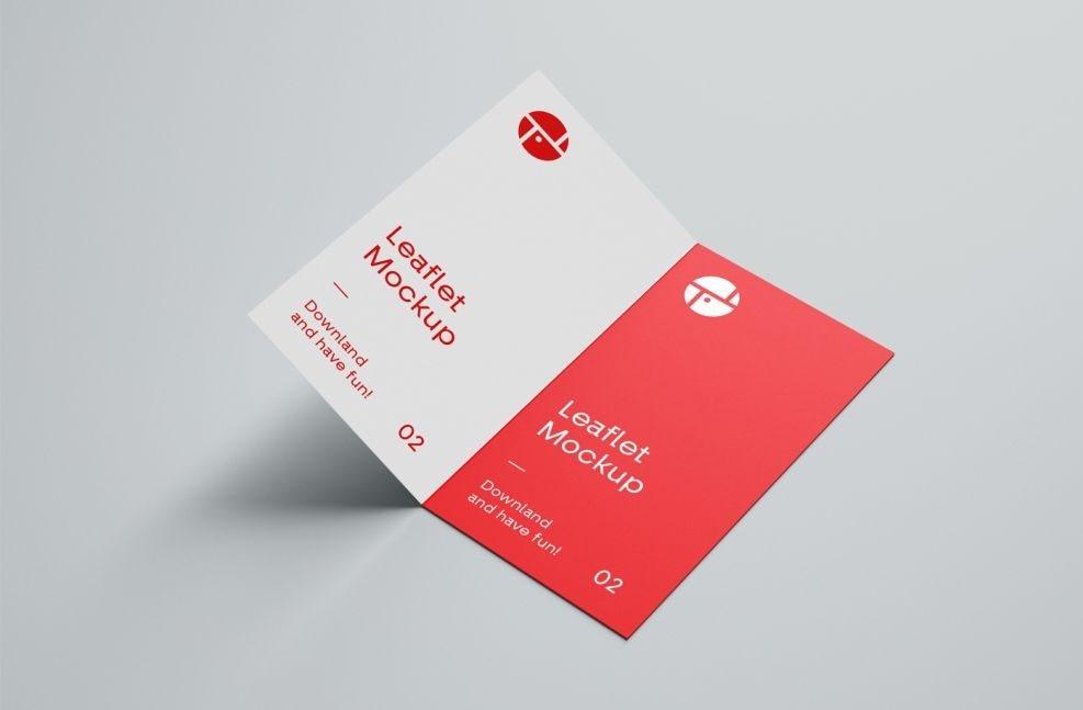 Open 2 Fold Brochure Free Mockup