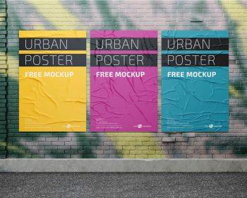 Posters on Wall Street Free Mockup