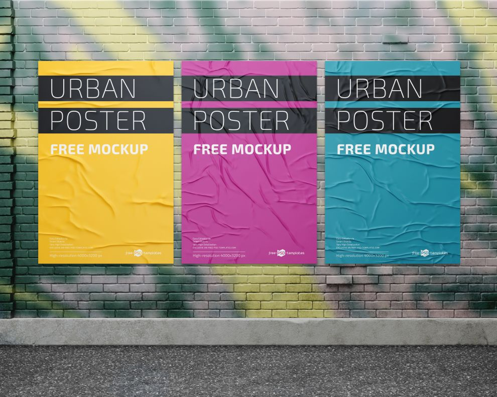 Posters on Wall Street Free Mockup