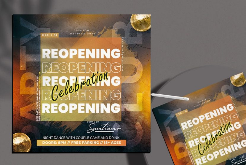 Reopening Club Party Free PSD Flyer Template