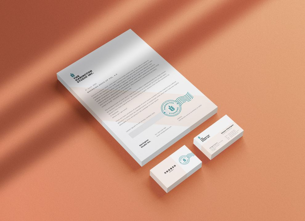 Stationery with Shadow Overlay Free Mockup