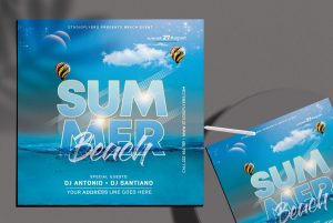 Summer Beach Time Free Flyer Template (PSD)