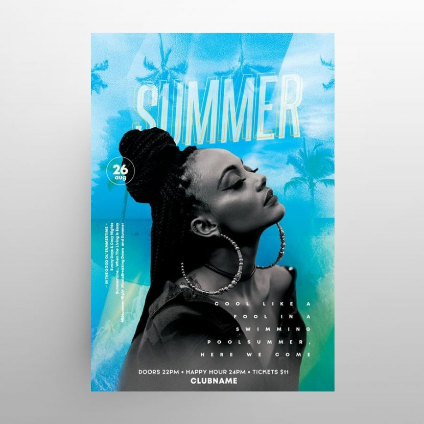 Summer Fun Free Party Flyer Template (PSD)