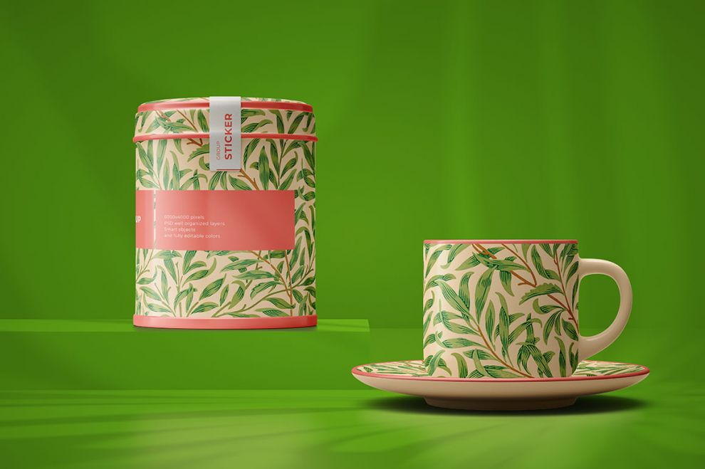 Tea Packaging & Cup Free Mockup (PSD)