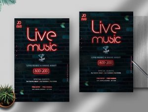 The Neon Party Free Flyer Template (PSD)