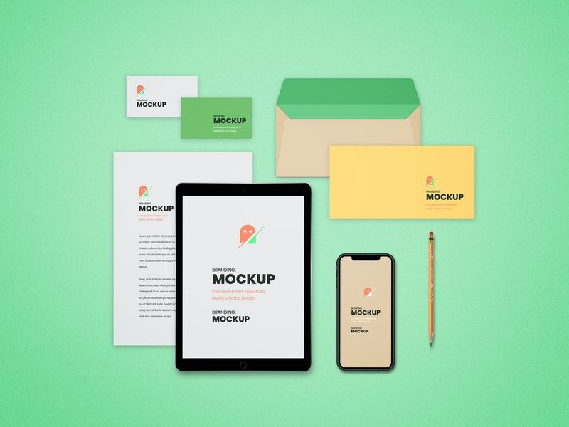 Top View Stationery Free Mockup