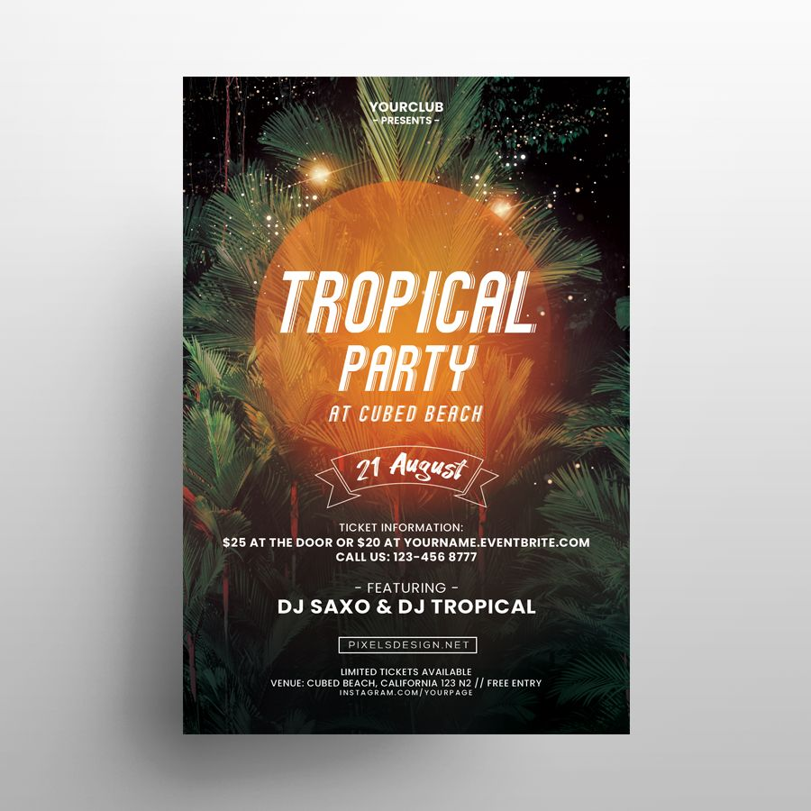 Tropical DJ Party Free Flyer Template (PSD)