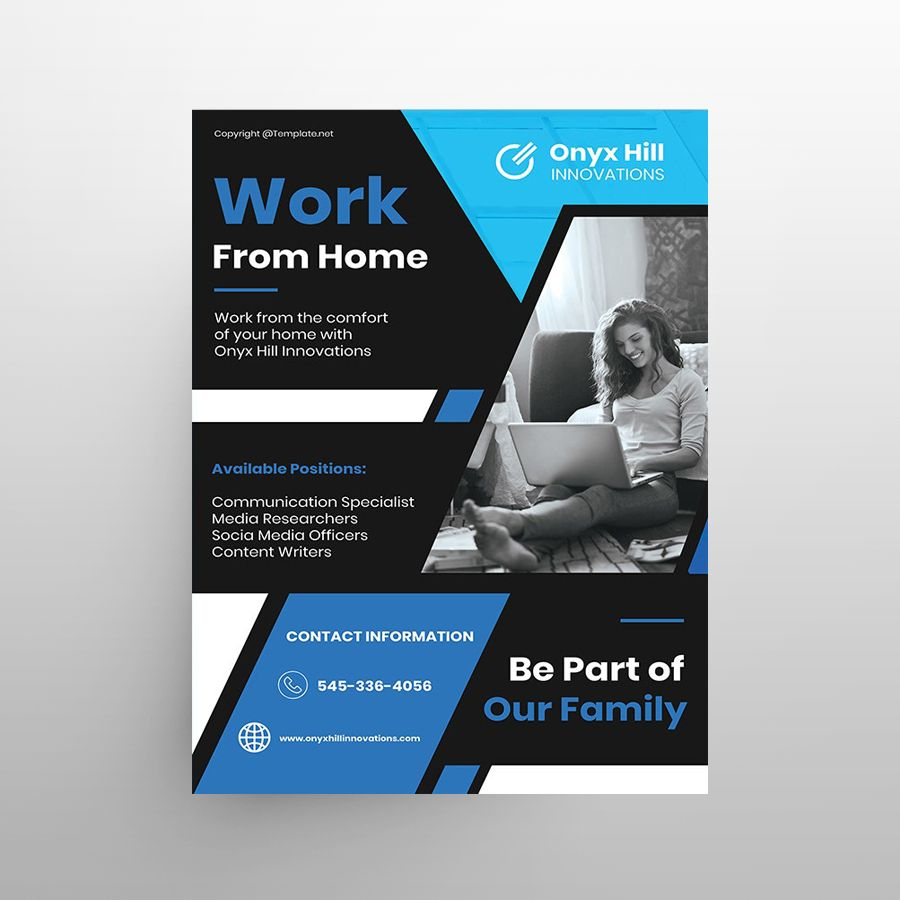 Work From Home Free PSD Poster Template