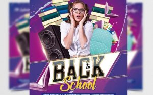 Back to School Party Free Flyer Template (PSD)