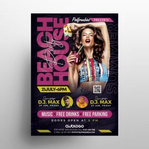 Beach Vibe Party Free Flyer Template (PSD)