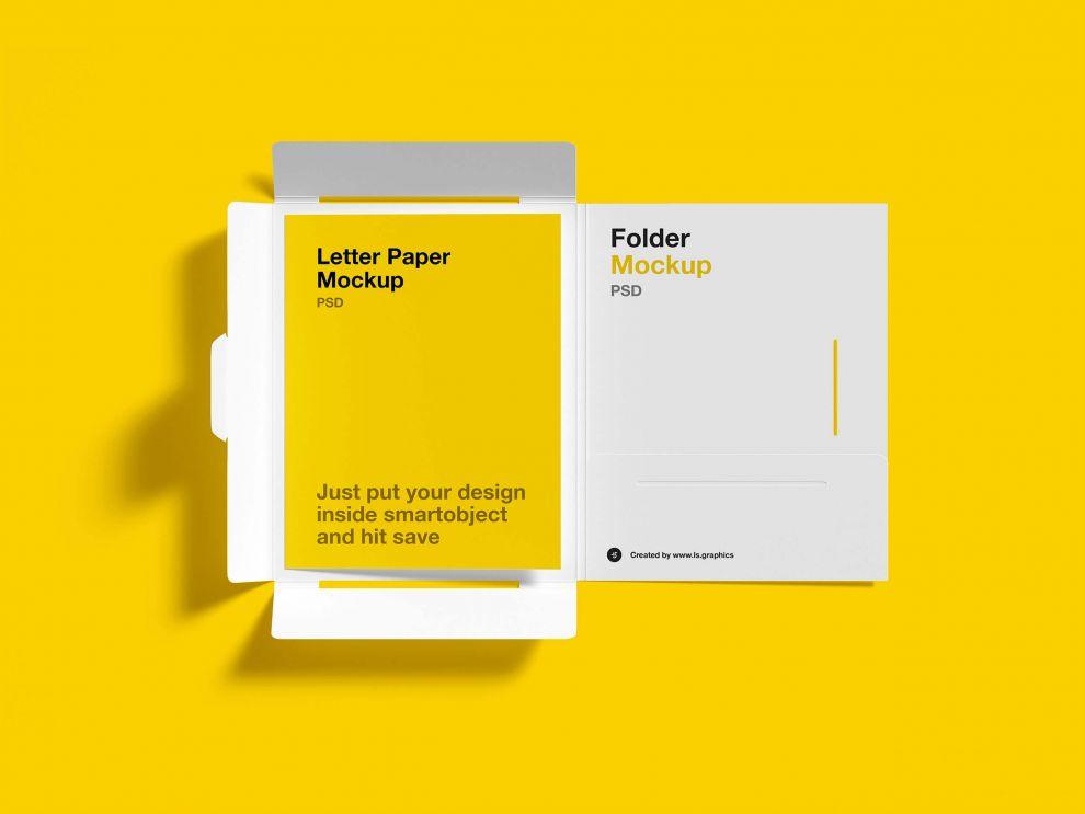 Brochure Folder Letter Free Mockup
