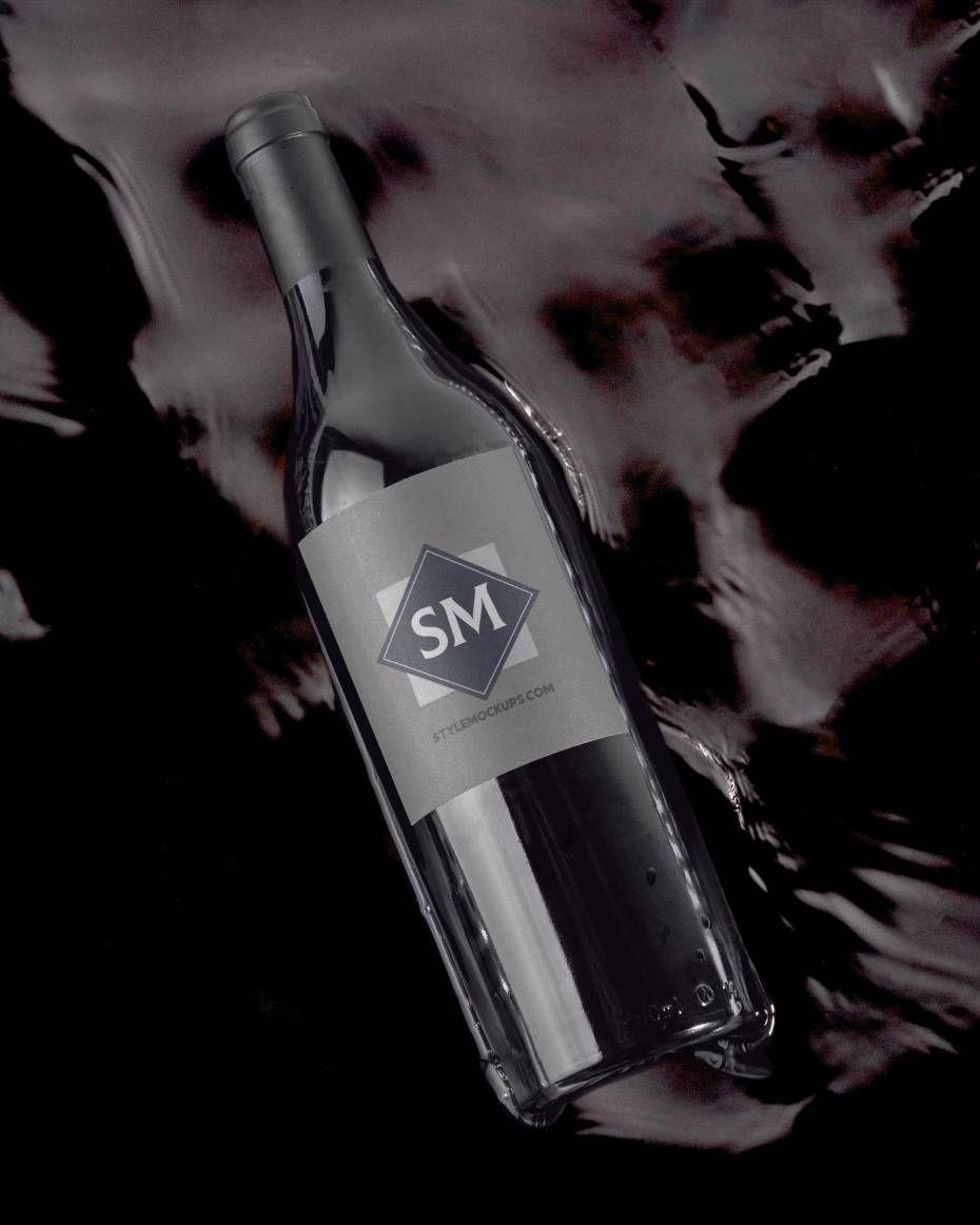 Elegant Wine Bottle Free Mockup (PSD)