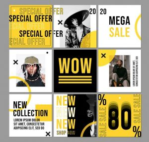 Fashion Ad Free Yellow Instagram Banners Templates