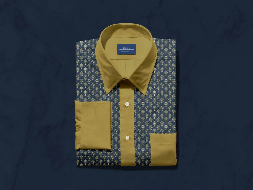 Folded Dress Shirt with Label Tag Free Mockup