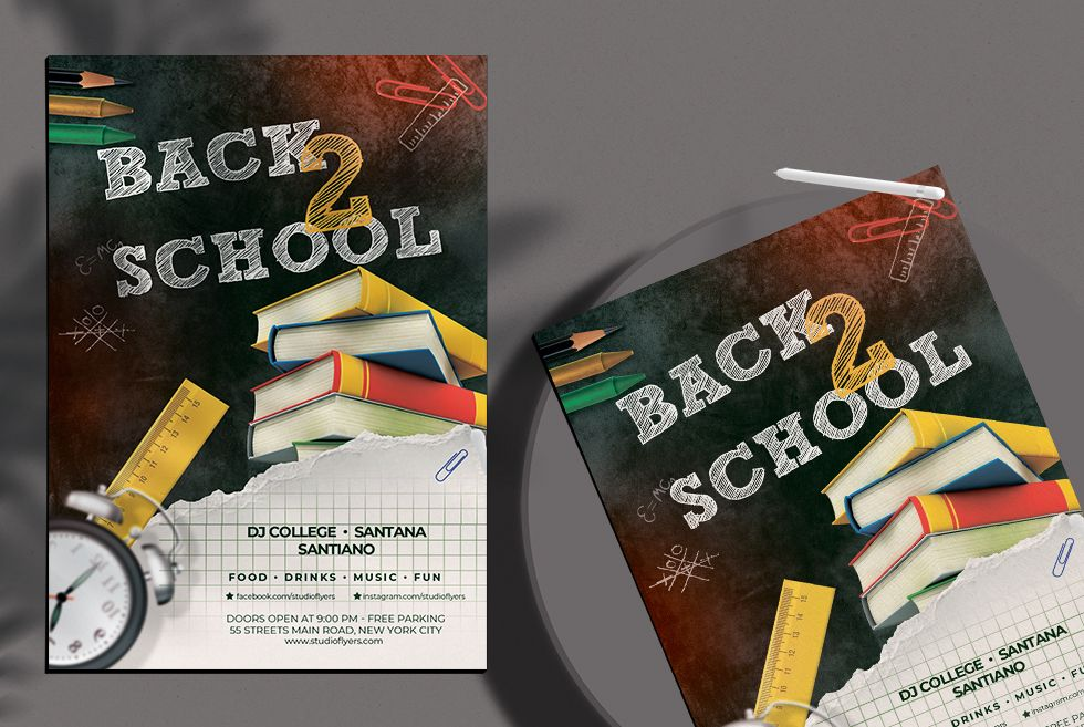 Free Back 2 School 2020 Event Flyer Template (PSD)
