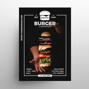 Free Burger Ad Restaurant Flyer Template (PSD)